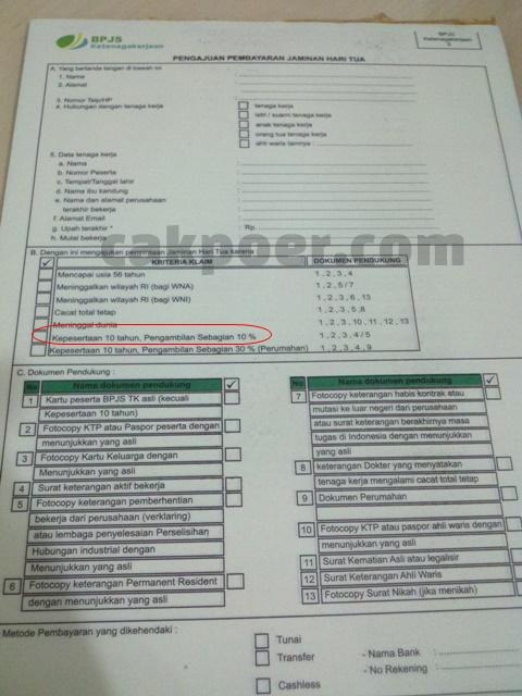 Formulir Pengajuan Pembauaran Dana JHT